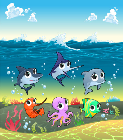 ocean floor: Funny marine animals on the ocean floor. Cartoon vector illustration Illustration