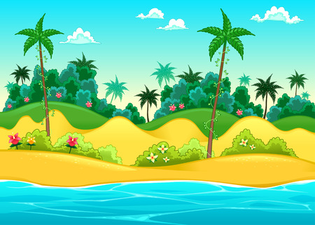 tropical beach panoramic: Landscape on the seashore. Vector cartoon illustration