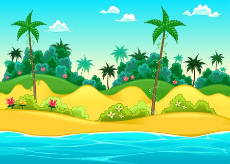 selva caricatura: Paisaje en la orilla del mar. Ilustración vectorial de dibujos animados