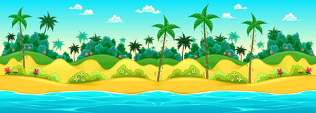 tropical beach panoramic: Landscape on the seashore. Vector cartoon illustration, the sides repeat seamlessly for a possible, continuous animation. Illustration