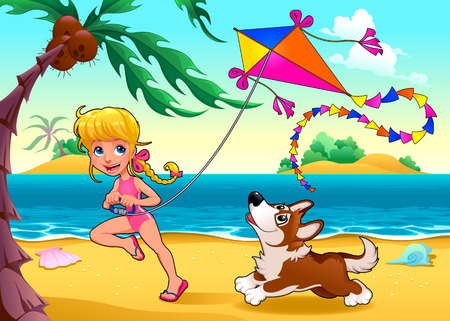 isle: Funny scene with girl and dog on the beach. Vector cartoon illustration