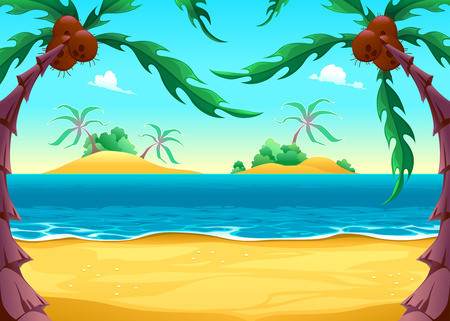 View on the seashore. Cartoon vector illustration