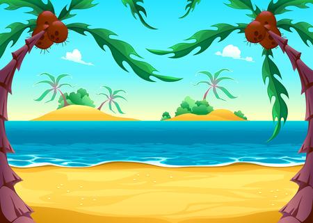 View on the seashore. Cartoon vector illustration