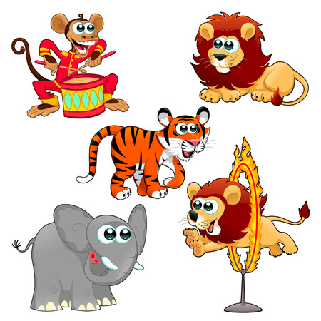Funny circus animals. Cartoon vector isolated characters. Vector