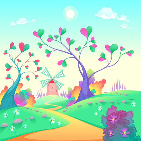 springy: Springy landscape with windmill. Funny cartoon and vector illustration.