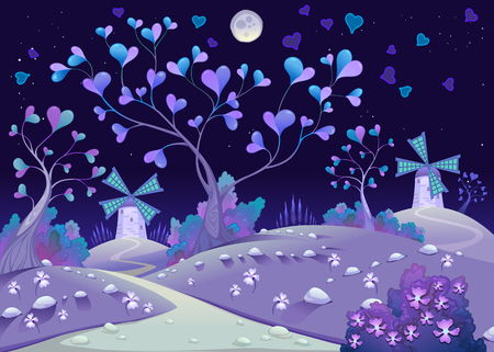 springy: Nightly springy landscape with windmills. Funny cartoon and vector illustration.