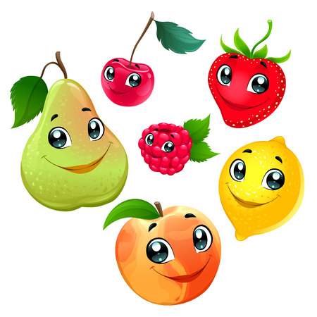 Family of funny fruits. Vector cartoon isolated characters.