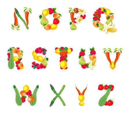 Alphabet composed by fruits and vegetables, second part. Vector isolated elements. Illustration