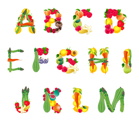 courgette: Alphabet composed by fruits and vegetables, first part. Vector isolated elements.