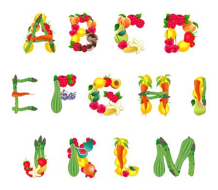 Alphabet samengesteld door groenten en fruit, eerste deel. Vector geïsoleerd elementen.