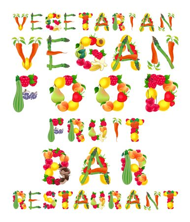 courgette: Words in vegan style. Vector isolated elements.