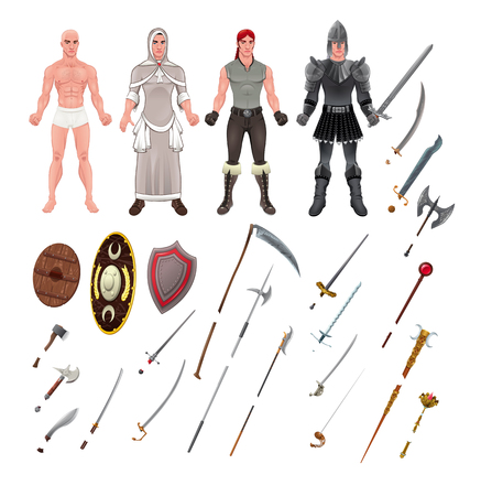 scimitar: Medieval avatar with armors and weapons.