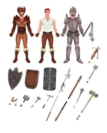 vestido medieval: Avatar medieval con armaduras y armas.