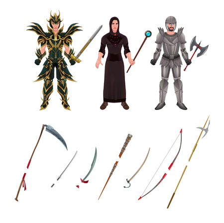 scimitar: Medieval avatar with armors and weapons.  Illustration