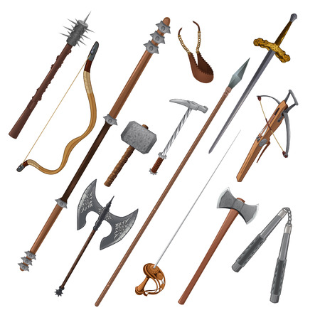 weapons: Set of different weapons.