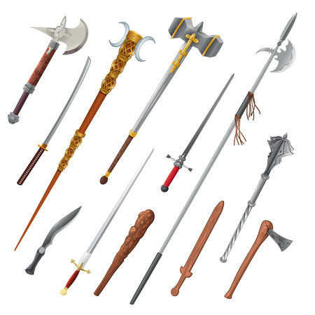 Set of different weapons.