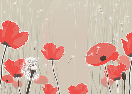 dandelion flower: Background with flowers. Vector illustration