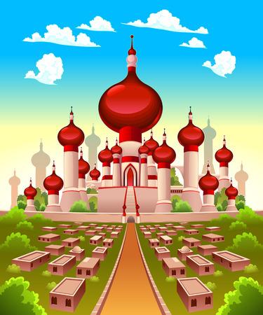 Landscape with Arabian castle.
