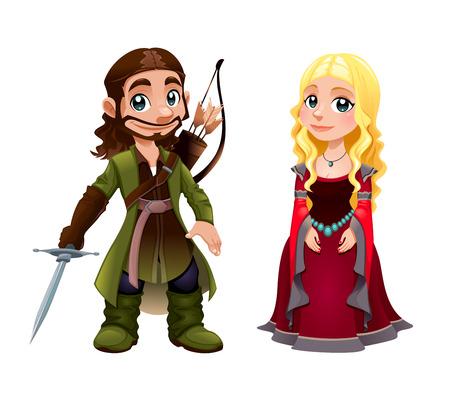 rey: Pareja Medieval: Caballero y la Princesa. Vector de dibujos animados carácter aislado.