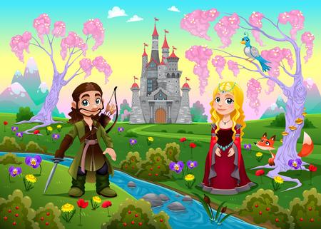 castillo medieval: Pareja medieval en un paisaje con el castillo. Ilustración vectorial de dibujos animados