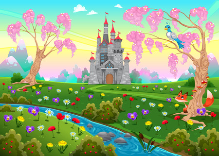 Fairytale scenery with castle. Cartoon vector illustration.