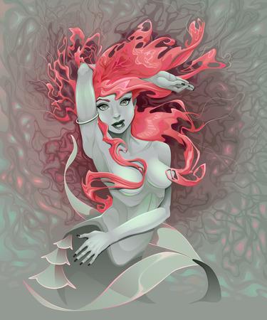 gothic: Portrait of a mermaid. Illustration