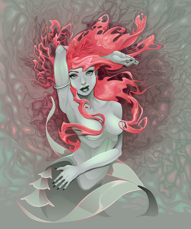 Portrait of a mermaid. Illustration