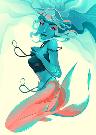 Portrait of a mermaid. Vector illustration.