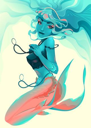 Ritratto di una sirena. Illustrazione vettoriale. Archivio Fotografico - 40960964