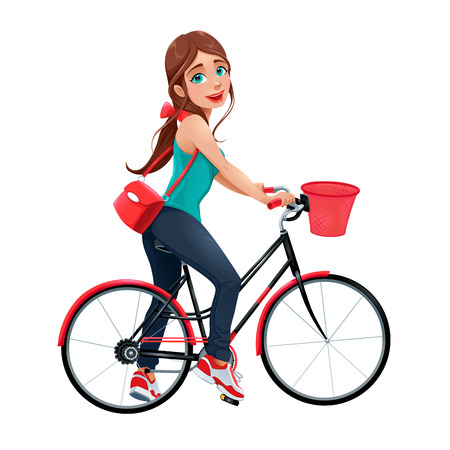 women sport: Young smiling woman on a bicycle. Vector cartoon isolated character.