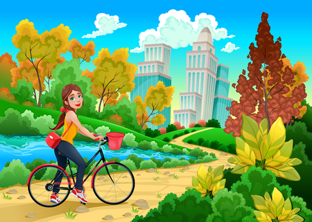 young girls nature: Lady on a bike in a urban park. Cartoon vector illustration