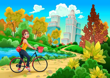 bicicleta vector: Señora en una bicicleta en un parque urbano. Ilustración vectorial de dibujos animados