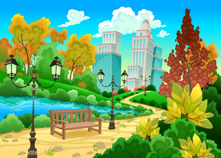 city: Urban scenery in a natural garden. Cartoon vector illustration