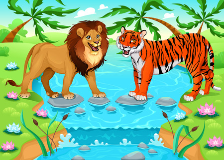 cartoon palm tree: Lion and tiger together in the jungle. Cartoon vector illustration