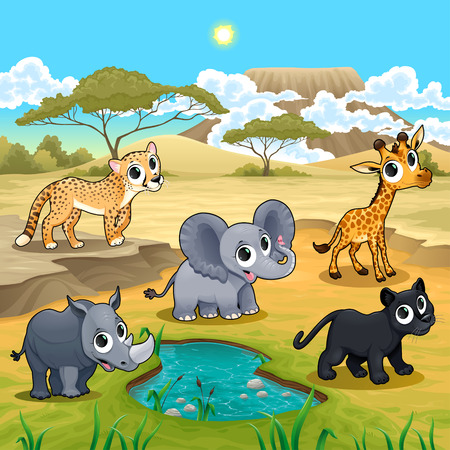 desert landscape: Set of funny wild animals in the nature. Vector and cartoon illustration. Illustration