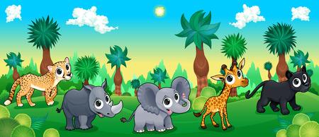 Green forest with wild animals. Vector cartoon illustration.