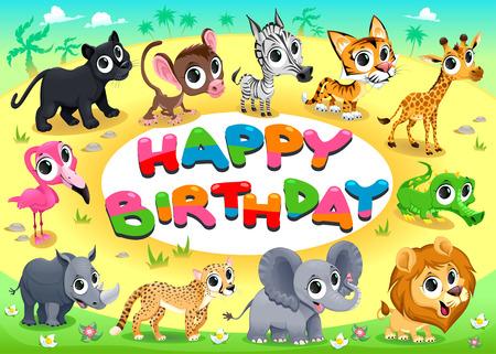 marco cumpleaños: Tarjeta del feliz cumpleaños con los animales de la selva. Ilustración vectorial de dibujos animados con marco en proporciones A4.