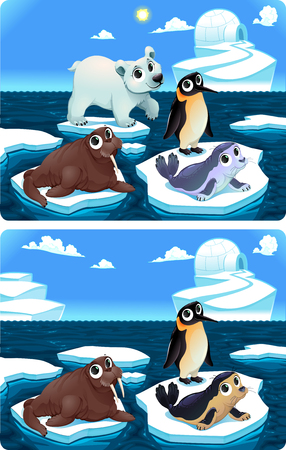 igloo: Spot the differences. Two images with six changes between them, vector and cartoon illustrations Illustration