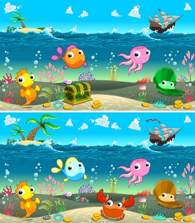 cangrejo caricatura: Encuentra las diferencias. Dos imágenes con ocho cambios entre ellos, vectores e ilustraciones de dibujos animados