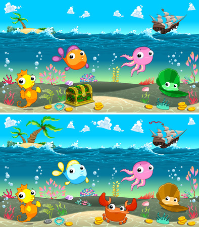 Spot the differences. Two images with eight changes between them, vector and cartoon illustrations