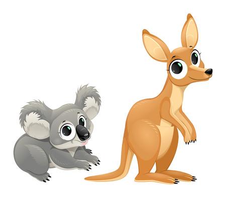 koala: Marsupiales divertidos, koala y canguro. Aislado Vector de dibujos animados personajes. Vectores