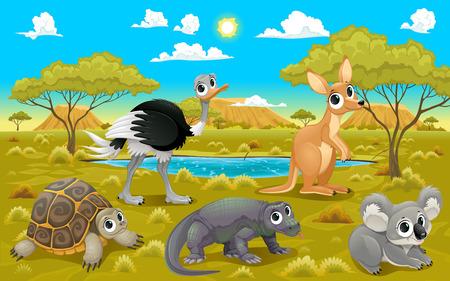 arboles de caricatura: Animales australianos en un paisaje natural. Divertidos dibujos animados e ilustración vectorial. Vectores