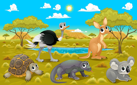 happy family nature: Australian animals in a natural landscape. Funny cartoon and vector illustration.