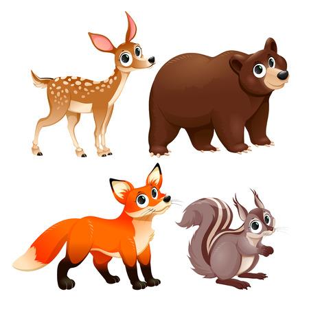 �deer: Animales divertidos de la madera. Ciervos, oso pardo, el zorro y ardilla. Aislado Vector de dibujos animados personajes. Vectores