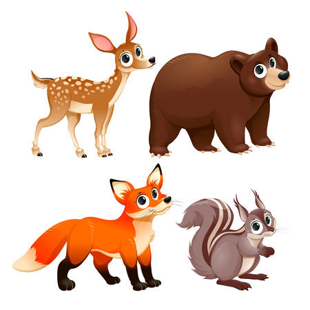 Funny animals of the wood. Deer, brown bear, fox and squirrel. Vector cartoon isolated characters. Vettoriali