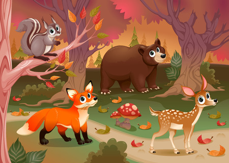 story: Funny animals in the wood. Cartoon vector illustration