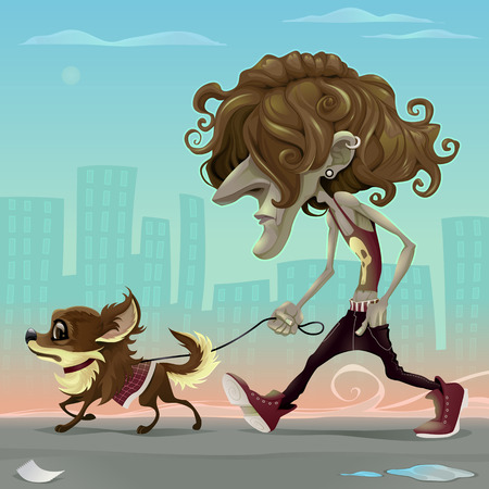Guy with dog walking on the street. Vector cartoon illustration