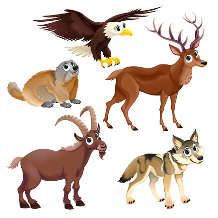 cartoon animal: Funny mountain animals, deer, eagle, groundhog, stein bock, wolf.