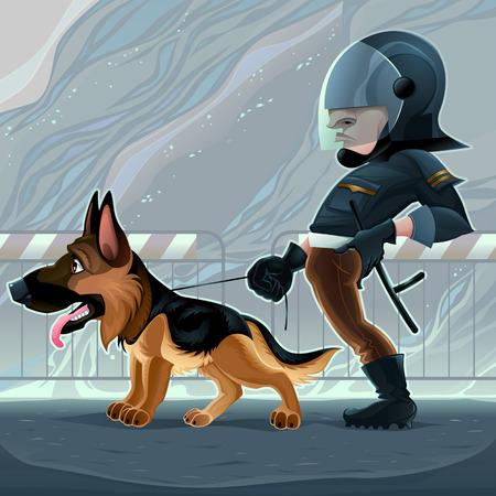 Cop with dog cartoon illustration