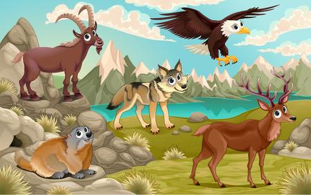 Funny animals in a mountain landscape. Vector cartoon illustration 일러스트